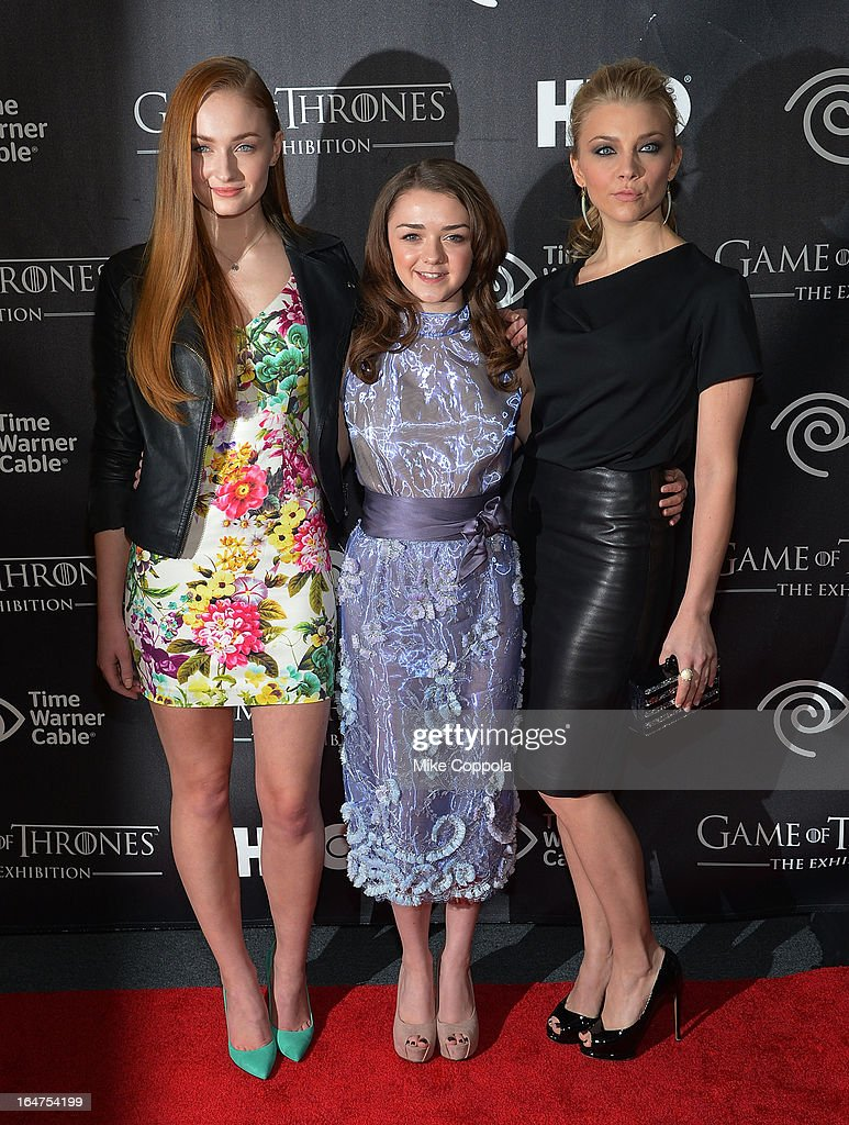 Actors Sophie Turner, <a gi-track='captionPersonalityLinkClicked' href=/galleries/search?phrase=Maisie+Williams&family=editorial&specificpeople=1766400 ng-click='$event.stopPropagation()'>Maisie Williams</a>, and <a gi-track='captionPersonalityLinkClicked' href=/galleries/search?phrase=Natalie+Dormer&family=editorial&specificpeople=817757 ng-click='$event.stopPropagation()'>Natalie Dormer</a> attend 'Game Of Thrones' The Exhibition New York Opening at 3 West 57th Avenue on March 27, 2013 in New York City.