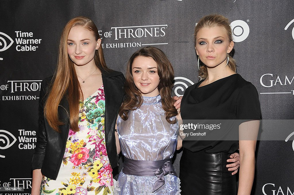 Actors Sophie Turner, Maisie Williams and Natalie Dormer attend 'Game Of Thrones' The Exhibition New York Opening at 3 West 57th Avenue on March 27, 2013 in New York City.