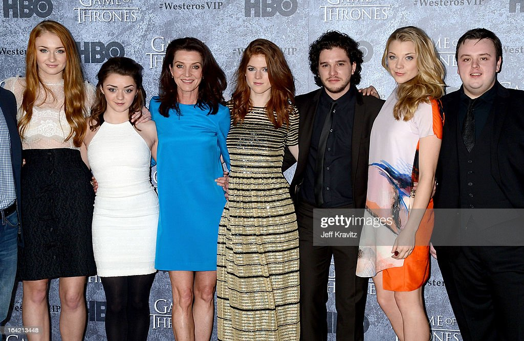 Actors <a gi-track='captionPersonalityLinkClicked' href=/galleries/search?phrase=Sophie+Turner+-+Actrice&family=editorial&specificpeople=11657140 ng-click='$event.stopPropagation()'>Sophie Turner</a>, <a gi-track='captionPersonalityLinkClicked' href=/galleries/search?phrase=Maisie+Williams&family=editorial&specificpeople=1766400 ng-click='$event.stopPropagation()'>Maisie Williams</a>, <a gi-track='captionPersonalityLinkClicked' href=/galleries/search?phrase=Michelle+Fairley&family=editorial&specificpeople=5745645 ng-click='$event.stopPropagation()'>Michelle Fairley</a>, <a gi-track='captionPersonalityLinkClicked' href=/galleries/search?phrase=Rose+Leslie&family=editorial&specificpeople=7275579 ng-click='$event.stopPropagation()'>Rose Leslie</a>, <a gi-track='captionPersonalityLinkClicked' href=/galleries/search?phrase=Kit+Harington&family=editorial&specificpeople=7470548 ng-click='$event.stopPropagation()'>Kit Harington</a>, <a gi-track='captionPersonalityLinkClicked' href=/galleries/search?phrase=Natalie+Dormer&family=editorial&specificpeople=817757 ng-click='$event.stopPropagation()'>Natalie Dormer</a> and John Bradley attend HBO's 'Game Of Thrones' Season 3 San Francisco Premiere on March 20, 2013 in San Francisco, California.