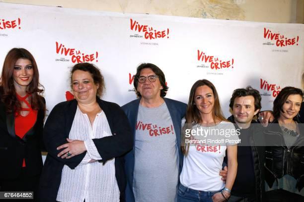 Actors Sophie Vouzelaud Isabelle de Hertogh Director JeanFrancois Davy Emmanuelle Boidron Franck Molinaro and Amel Annoga attend the 'Vive la Crise'...