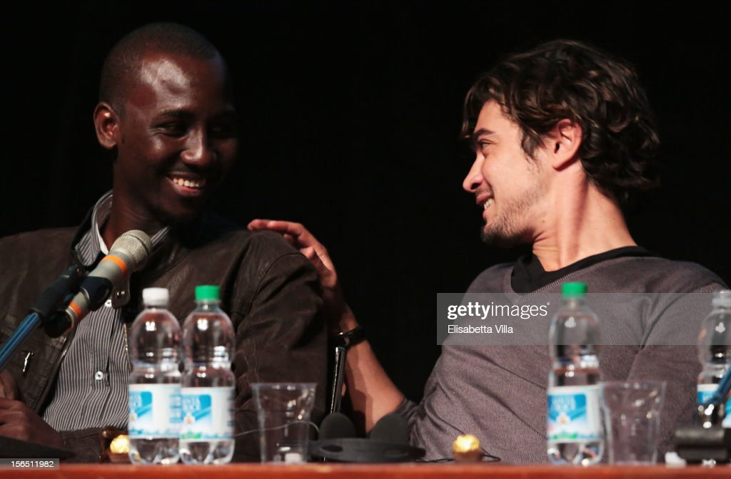 Actors Souleymane Sow and <a gi-track='captionPersonalityLinkClicked' href=/galleries/search?phrase=Riccardo+Scamarcio&family=editorial&specificpeople=816804 ng-click='$event.stopPropagation()'>Riccardo Scamarcio</a> attend the 'Cosimo E Nicole' Press Conference during the 7th Rome Film Festival at the Auditorium Parco Della Musica on November 16, 2012 in Rome, Italy.