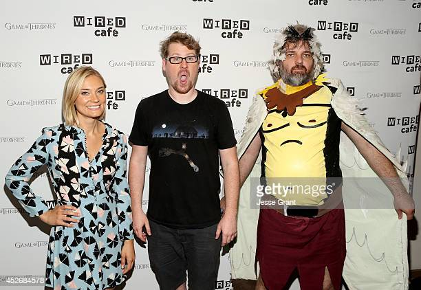 Actors Spencer Grammer Justin Roiland and writer Dan Harmon attend day 2 of the WIRED Cafe @ Comic Con at Omni Hotel on July 25 2014 in San Diego...