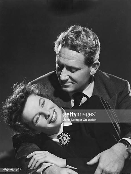 Actors Spencer Tracy and Katharine Hepburn Cuddling