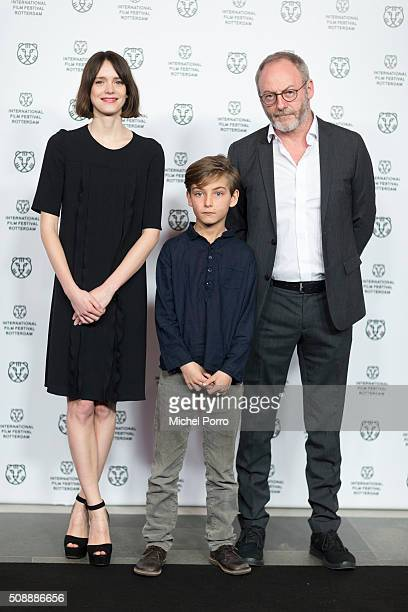 Actors Stacey Martin Tom Sweet and Liam Cunningham attend the Dutch premiere and the closing film 'The Childhood Of A Leader' at the International...