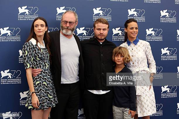Actors Stacy Martin Liam Cunningham director Brady Corbet actors Tom Sweet and Berenice Bejo attend a photocall for 'The Childhood Of A Leader'...