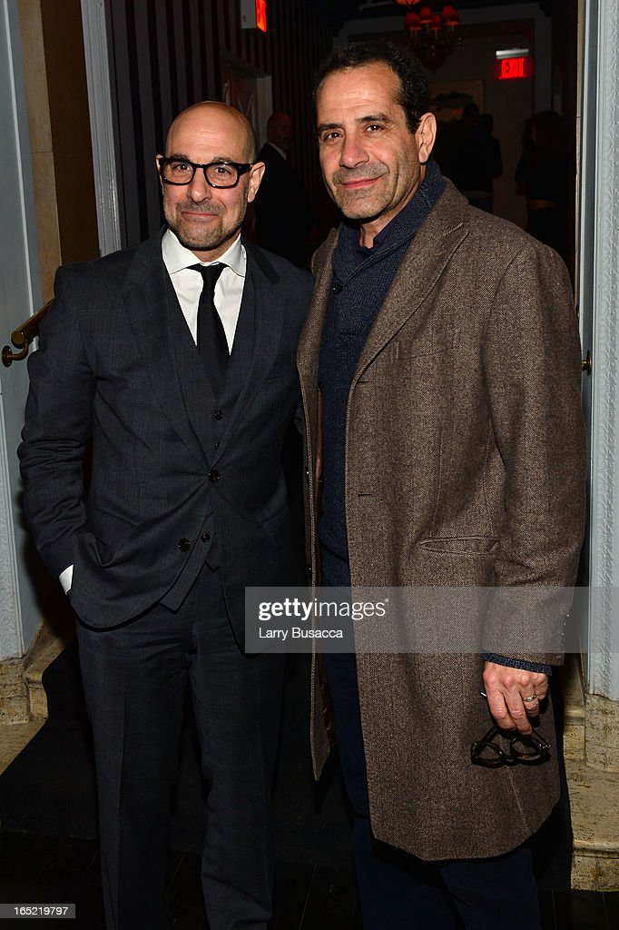 Actors <a gi-track='captionPersonalityLinkClicked' href=/galleries/search?phrase=Stanley+Tucci&family=editorial&specificpeople=209366 ng-click='$event.stopPropagation()'>Stanley Tucci</a> and <a gi-track='captionPersonalityLinkClicked' href=/galleries/search?phrase=Tony+Shalhoub&family=editorial&specificpeople=203214 ng-click='$event.stopPropagation()'>Tony Shalhoub</a> attend 'The Company You Keep' New York Premiere After Party at Harlow on April 1, 2013 in New York City.