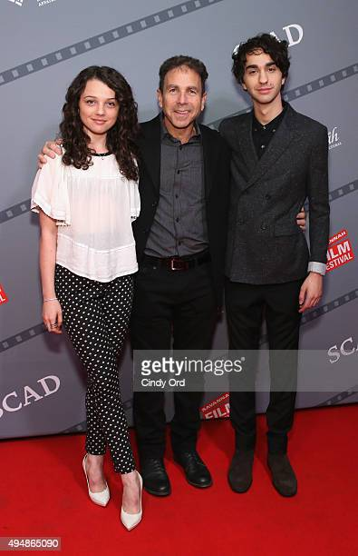 Actors Stefania LaVie Owen James Steven Sadwith and Alex Wolff pose for a photo together prior to QA for 'Coming Through the Rye' at Lucas Theatre...