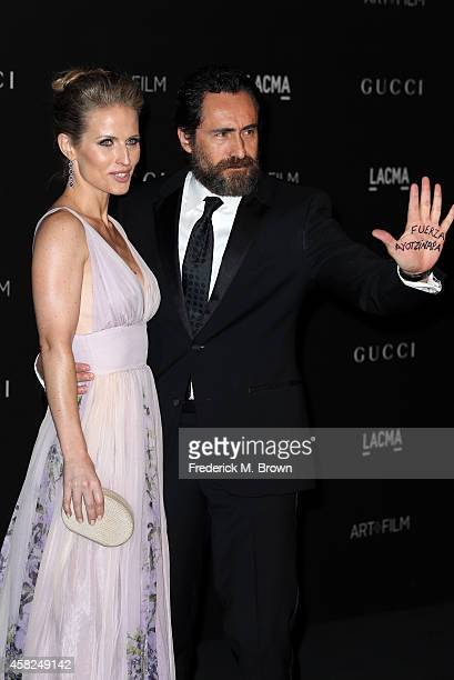 Actors Stefanie Sherk and Demian Bichir attend the 2014 LACMA Art Film Gala honoring Barbara Kruger and Quentin Tarantino at LACMA on November 1 2014...