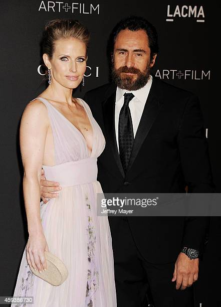 Actors Stefanie Sherk and Demian Bichir attend the 2014 LACMA Art Film Gala honoring Barbara Kruger and Quentin Tarantino presented by Gucci at LACMA...