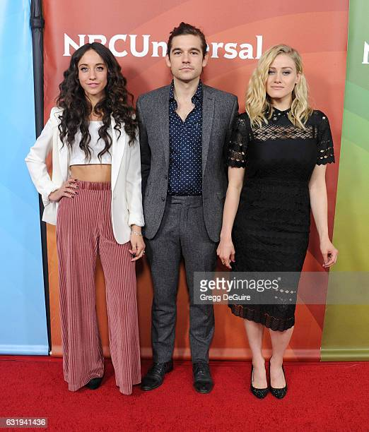 Actors Stella Maeve Jason Ralph and Olivia Taylor Dudley arrive at the 2017 NBCUniversal Winter Press Tour Day 1 at Langham Hotel on January 17 2017...