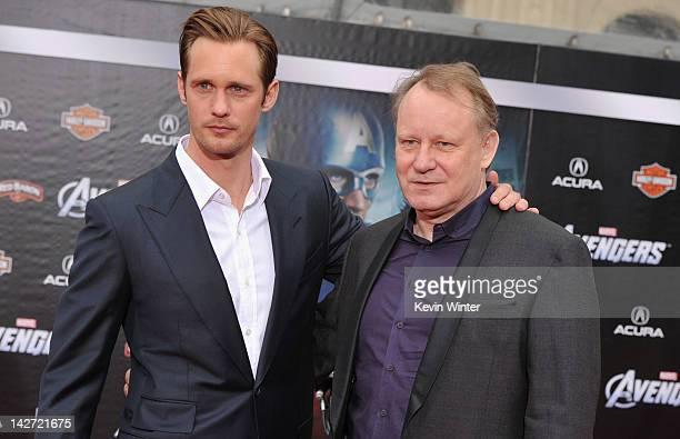 Actors Stellan Skarsgard and Alexander Skarsgard arrive at the premiere of Marvel Studios' 'The Avengers' at the El Capitan Theatre on April 11 2012...