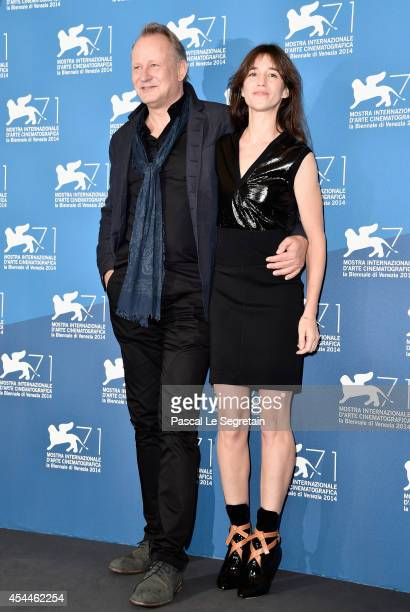 Actors Stellan Skarsgard and Charlotte Gainsbourg attend the 'Nymphomaniac Volume 2 Directors Cut' photocall during the 71st Venice Film Festival on...