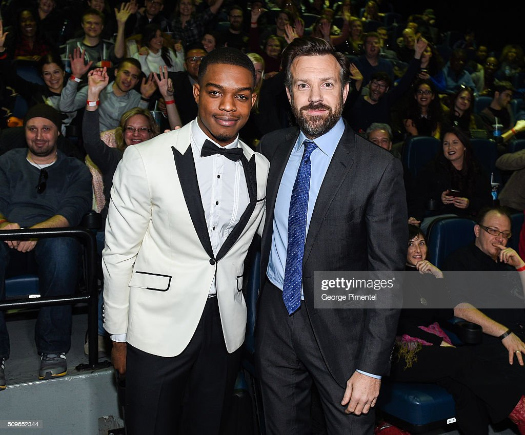 Actors Stephan James and <a gi-track='captionPersonalityLinkClicked' href=/galleries/search?phrase=Jason+Sudeikis&family=editorial&specificpeople=4232997 ng-click='$event.stopPropagation()'>Jason Sudeikis</a> attend the Canadian Red Carpet Premiere of 'Race' at Scotiabank Theatre on February 11, 2016 in Toronto, Canada.