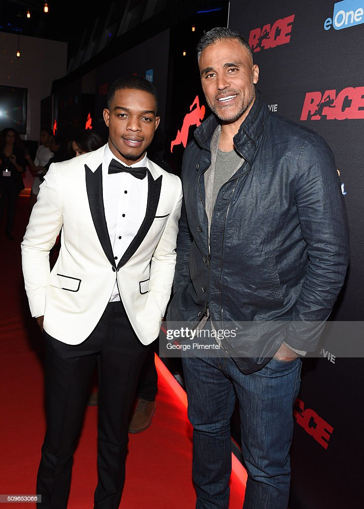 Actors Stephan James and <a gi-track='captionPersonalityLinkClicked' href=/galleries/search?phrase=Rick+Fox&family=editorial&specificpeople=201971 ng-click='$event.stopPropagation()'>Rick Fox</a> attend the Canadian Red Carpet Premiere of 'Race' at Scotiabank Theatre on February 11, 2016 in Toronto, Canada.