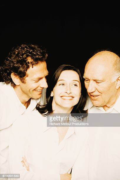Actors Stephane Freiss Anne Brochet and Michel Piccoli are the cast of the Sacha Guitry play La Jalousie The 2000 production staged at the Theatre...