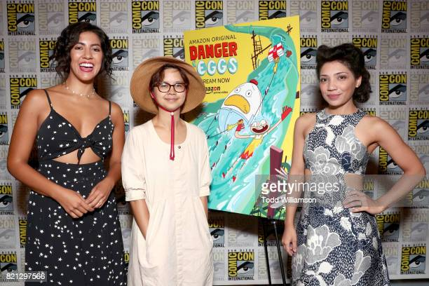Actors Stephanie Beatriz Charlyne Yi and Jasika Nicole from 'Danger Eggs' at Amazon's KIDS PRESS ROOM Panel during ComicCon International 2017 on...
