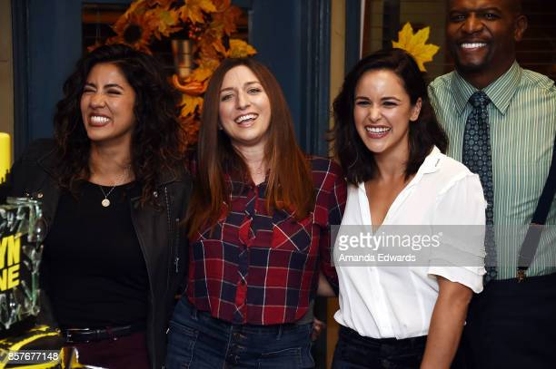 Actors Stephanie Beatriz Chelsea Peretti Melissa Fumero and Terry Crews attend Fox's 'Brooklyn NineNine' 99th Episode celebration at CBS Studio...