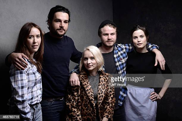 Actors Stephanie Ellis and Christopher Abbott filmmaker Mona Fastvold and actors Brady Corbet and Gitte Witt pose for a portrait during the 2014...