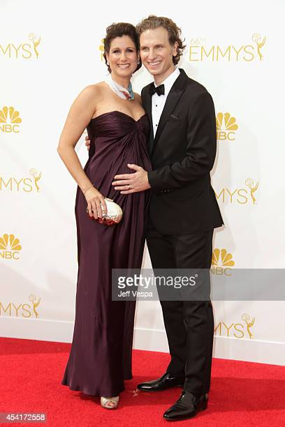 Actors Stephanie J Block and Sebastian Arcelus attends the 66th Annual Primetime Emmy Awards held at Nokia Theatre LA Live on August 25 2014 in Los...
