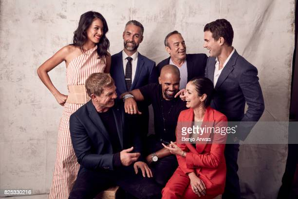 Actors Stephanie Sigman Jay Harrington Peter Onorati Alex Russell and Kenny Johnson Shemar Moore and Lina Esco of CBS's 'SWAT' pose for a portrait...