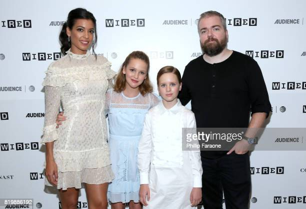 Actors Stephanie Sigman Talitha Bateman Lulu Wilson and director David Sandberg of 'Annabelle' at 2017 WIRED Cafe at Comic Con presented by ATT...