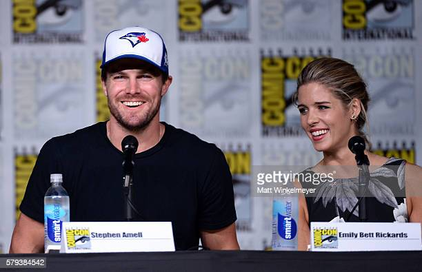 Actors Stephen Amell and Emily Bett Rickards attend the 'Arrow' Special Video Presentation and QA during ComicCon International 2016 at San Diego...