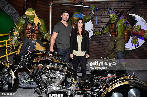 "Actors Stephen Amell and Megan Fox attend an autograph signing at WonderCon 2016 to promote the upcoming release of Paramount Pictures' ""Teenage..."