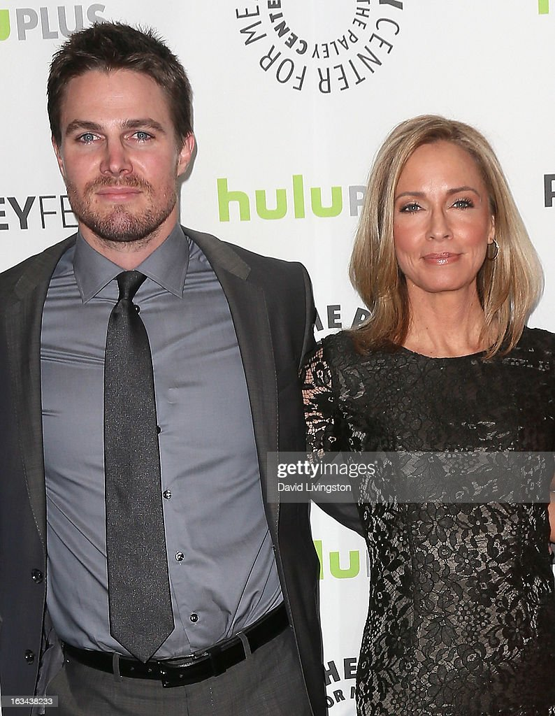 Actors <a gi-track='captionPersonalityLinkClicked' href=/galleries/search?phrase=Stephen+Amell&family=editorial&specificpeople=4500297 ng-click='$event.stopPropagation()'>Stephen Amell</a> (L) and Susanna Thompson attend The Paley Center For Media's PaleyFest 2013 honoring 'Arrow' at the Saban Theatre on March 9, 2013 in Beverly Hills, California.