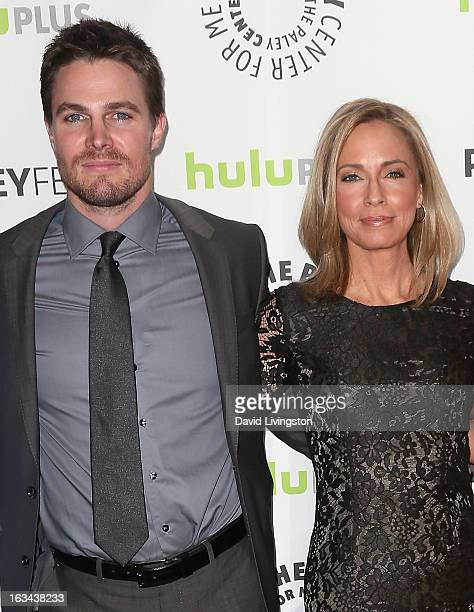 Actors Stephen Amell and Susanna Thompson attend The Paley Center For Media's PaleyFest 2013 honoring 'Arrow' at the Saban Theatre on March 9 2013 in...