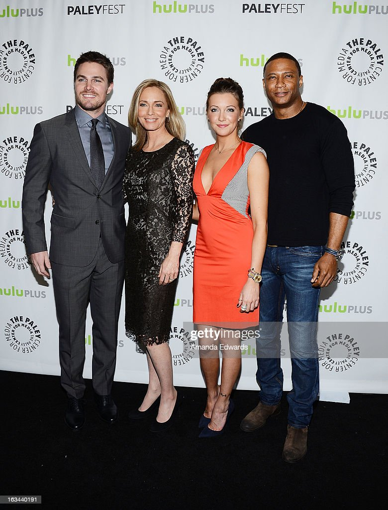 Actors <a gi-track='captionPersonalityLinkClicked' href=/galleries/search?phrase=Stephen+Amell&family=editorial&specificpeople=4500297 ng-click='$event.stopPropagation()'>Stephen Amell</a>, Susanna Thompson, <a gi-track='captionPersonalityLinkClicked' href=/galleries/search?phrase=Katie+Cassidy&family=editorial&specificpeople=569891 ng-click='$event.stopPropagation()'>Katie Cassidy</a> and David Ramsey arrive at the 30th Annual PaleyFest: The William S. Paley Television Festival featuring 'Arrow' at the Saban Theatre on March 9, 2013 in Beverly Hills, California.