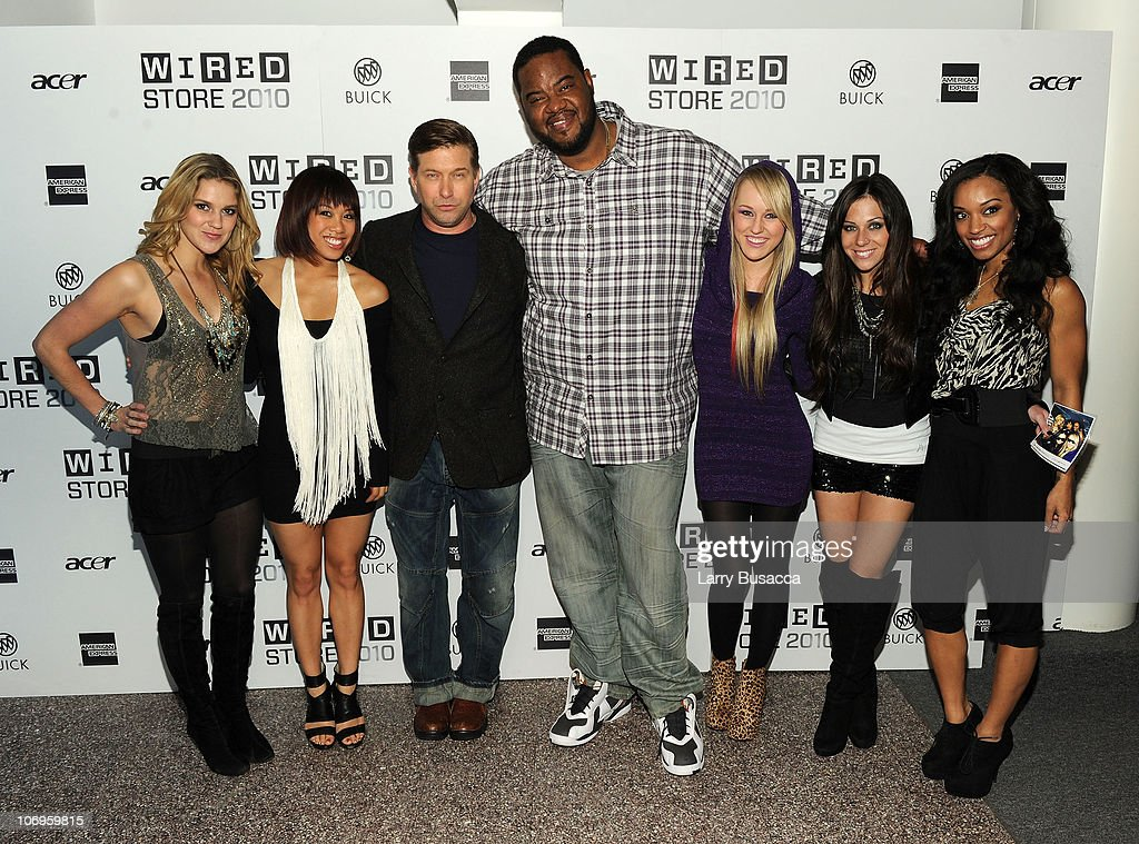 Actors Stephen Baldwin and Grizz Chapman pose with members of BG5 at the 2010 WIRED Store Experiential Gallery Opening in NOHO on November 18 2010 in...