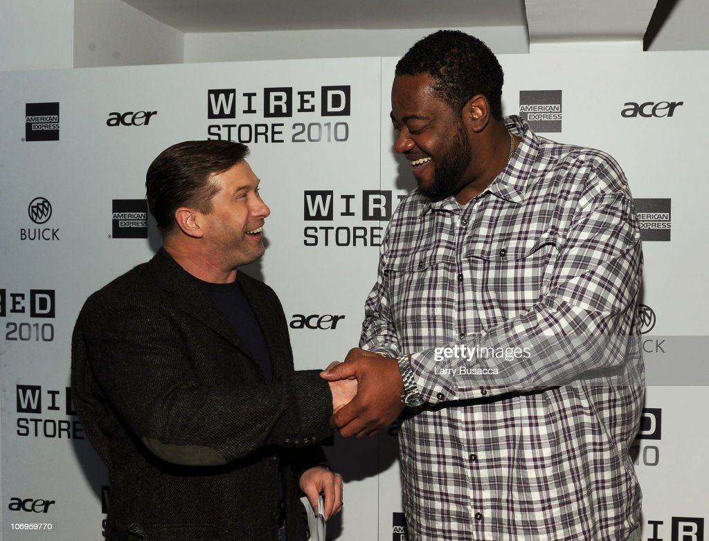 Actors Stephen Baldwin and Grizz Chapman shake hands at the 2010 WIRED Store Experiential Gallery Opening in NOHO on November 18 2010 in New York City