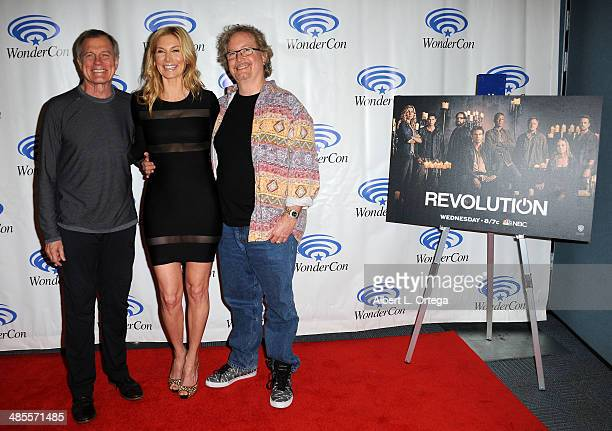 Actors Stephen Collins Elizabeth Mitchell and writer Rockne S O'Bannon attend WonderCon Anaheim 2014 Day 1 held at the Anaheim Convention Center on...