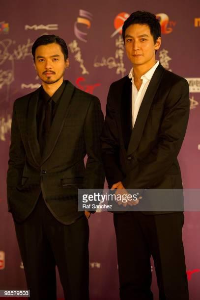 Actors Stephen Fung and Daniel Wu arrive at the 29th Hong Kong Film Awards at the The Hong Kong Cultural Centre on April 18 2010 in Hong Kong Hong...