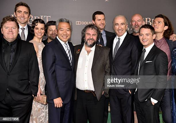Actors Stephen Hunter Lee Pace Evangeline Lilly Andy Serkis Kevin Tsujihara Chairman CEO of Warner Bros writer/director/producer Peter Jackson and...
