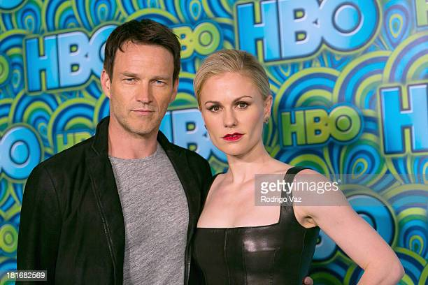 Actors Stephen Moyer and Anna Paquin arrive at HBO's Annual Primetime Emmy Awards Post Award Reception at The Plaza at the Pacific Design Center on...