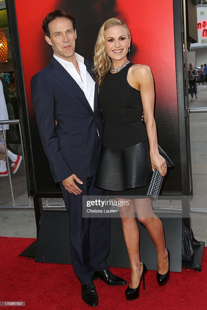 Actors Stephen Moyer (L) and Anna Paquin arrive at HBO's 'True Blood' season 6 premiere at ArcLight Cinemas Cinerama Dome on June 11, 2013 in Hollywood, California.