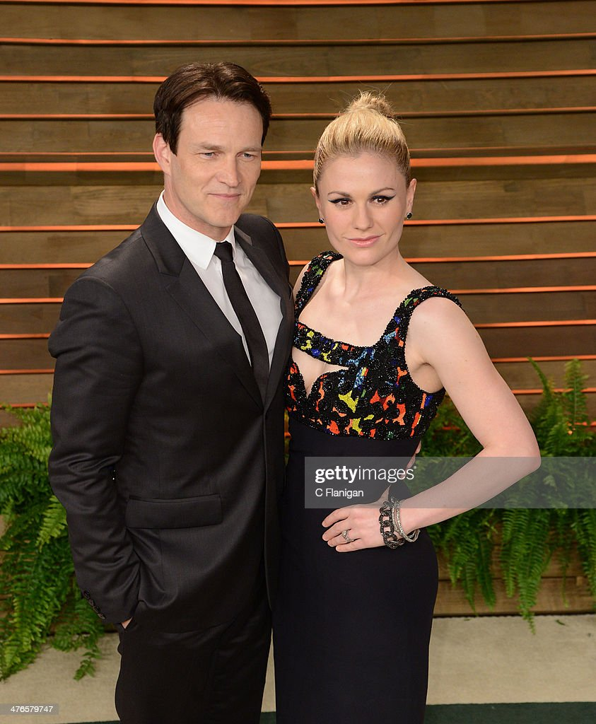 Actors <a gi-track='captionPersonalityLinkClicked' href=/galleries/search?phrase=Stephen+Moyer&family=editorial&specificpeople=4323688 ng-click='$event.stopPropagation()'>Stephen Moyer</a> and <a gi-track='captionPersonalityLinkClicked' href=/galleries/search?phrase=Anna+Paquin&family=editorial&specificpeople=211602 ng-click='$event.stopPropagation()'>Anna Paquin</a> arrive at the 2014 Vanity Fair Oscar Party Hosted By Graydon Carter on March 2, 2014 in West Hollywood, California.