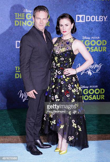 Actors Stephen Moyer and Anna Paquin arrive at the Premiere of DisneyPixar's 'The Good Dinosaur' on November 17 2015 in Hollywood California