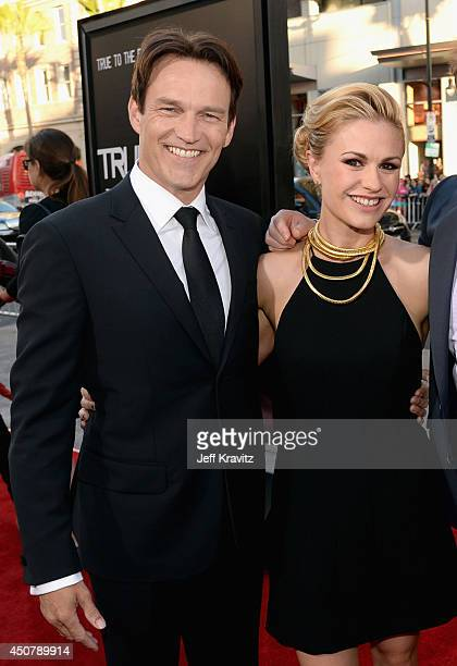 Actors Stephen Moyer and Anna Paquin attend HBO 'True Blood' season 7 premiere at TCL Chinese Theatre on June 17 2014 in Hollywood California