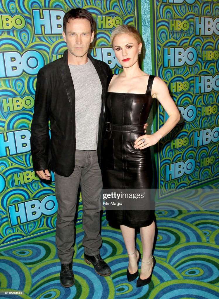 Actors Stephen Moyer and Anna Paquin attend HBO's official Emmy After Party at The Plaza at the Pacific Design Center on September 22 2013 in Los...