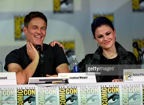 Actors Stephen Moyer and Anna Paquin attend HBO's 'True Blood' panel during ComicCon International 2014 at San Diego Convention Center on July 26...