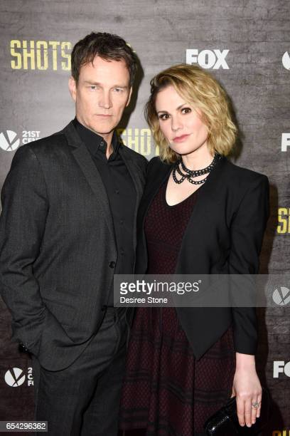 Actors Stephen Moyer and Anna Paquin attend the screening of FOX's 'Shots Fired' at Pacific Design Center on March 16 2017 in West Hollywood...