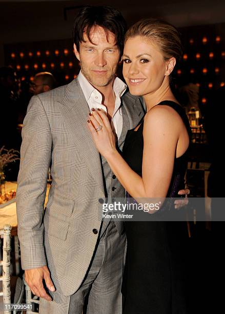Actors Stephen Moyer and Anna Paquin pose at the after party for the premiere of HBO's 'True Blood' at Social on June 21 2011 in Los Angeles...