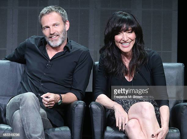 Actors Stephen Moyer and Katey Sagal speak onstage during 'The Bastard Executioner' panel discussion at the FX portion of the 2015 Summer TCA Tour at...