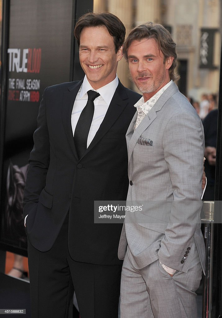 Actors <a gi-track='captionPersonalityLinkClicked' href=/galleries/search?phrase=Stephen+Moyer&family=editorial&specificpeople=4323688 ng-click='$event.stopPropagation()'>Stephen Moyer</a> (L) and <a gi-track='captionPersonalityLinkClicked' href=/galleries/search?phrase=Sam+Trammell&family=editorial&specificpeople=3205930 ng-click='$event.stopPropagation()'>Sam Trammell</a> arrive at HBO's 'True Blood' final season premiere at TCL Chinese Theatre on June 17, 2014 in Hollywood, California.