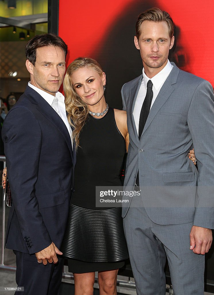 Actors <a gi-track='captionPersonalityLinkClicked' href=/galleries/search?phrase=Stephen+Moyer&family=editorial&specificpeople=4323688 ng-click='$event.stopPropagation()'>Stephen Moyer</a>, <a gi-track='captionPersonalityLinkClicked' href=/galleries/search?phrase=Anna+Paquin&family=editorial&specificpeople=211602 ng-click='$event.stopPropagation()'>Anna Paquin</a> and Alexander Skarsgard arrive at HBO's 'True Blood' season 6 premiere at ArcLight Cinemas Cinerama Dome on June 11, 2013 in Hollywood, California.