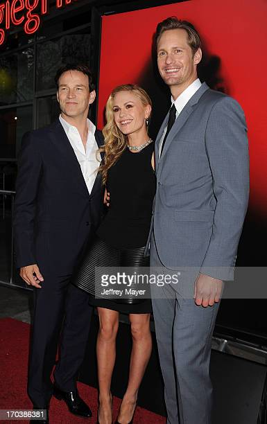 Actors Stephen Moyer Anna Paquin and Alexander Skarsgard arrive at HBO's 'True Blood' season 6 premiere at ArcLight Cinemas Cinerama Dome on June 11...