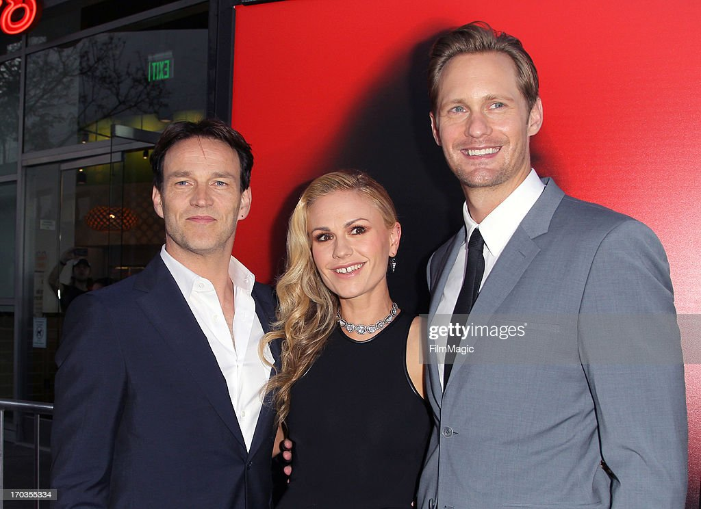 Actors <a gi-track='captionPersonalityLinkClicked' href=/galleries/search?phrase=Stephen+Moyer&family=editorial&specificpeople=4323688 ng-click='$event.stopPropagation()'>Stephen Moyer</a>, <a gi-track='captionPersonalityLinkClicked' href=/galleries/search?phrase=Anna+Paquin&family=editorial&specificpeople=211602 ng-click='$event.stopPropagation()'>Anna Paquin</a> and Alexander Skarsgard attend HBO's 'True Blood' season 6 premiere at ArcLight Cinemas Cinerama Dome on June 11, 2013 in Hollywood, California.