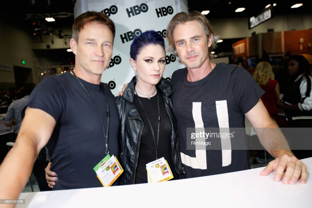 Actors Stephen Moyer Anna Paquin and Sam Trammell attend HBO's 'True Blood' cast autograph signing during ComicCon 2014 on July 26 2014 in San Diego...